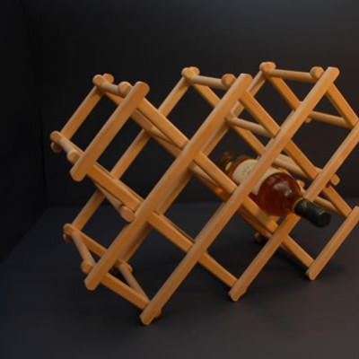 Folding wine rack for 10 bottles
